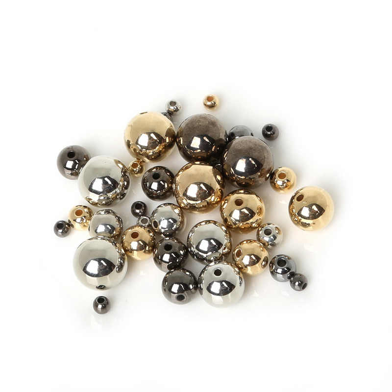4 6 8 10 12mm 30-300pcs Gold/Silver/Gun-Metal Plated CCB Round Seed Spacer Beads For Fashion Jewelry making DIY BSE009