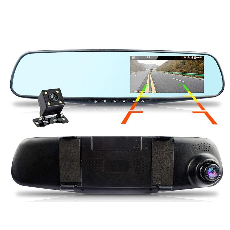 Yika del coche Dvr de la Cámara de espejo retrovisor de 4,3 pulgadas Dual de la lente del coche DVR cámaras Full HD 1080 P Dvr registrador dash Cámara corder