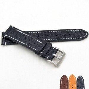 Image 2 - ที่ทำด้วยมือหนังแท้Watch Bands 18 19 20 21 22 23มิลลิเมตรสีดำสีน้ำตาลเข้มนาฬิกาข้อมือสายรัดเข็มขัดสำหรับภายใต้แบรนด์นาฬิกาแทนที่