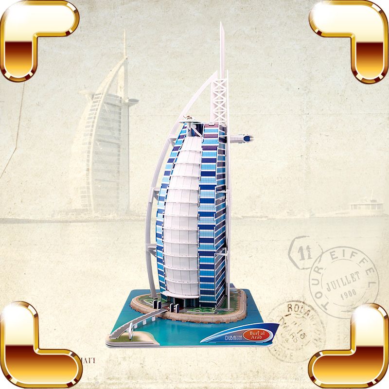 New Year Gift Burj Al Arab 3D Puzzles Famous Hotel Model Building DIY Education Toys Puzzle Paper Middle Level House Decoration