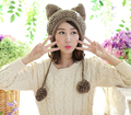 Fox Ears Cat Ear New Women Winter Hat 100% Handmade Knitted Beanie Ear Muff Hat Cap