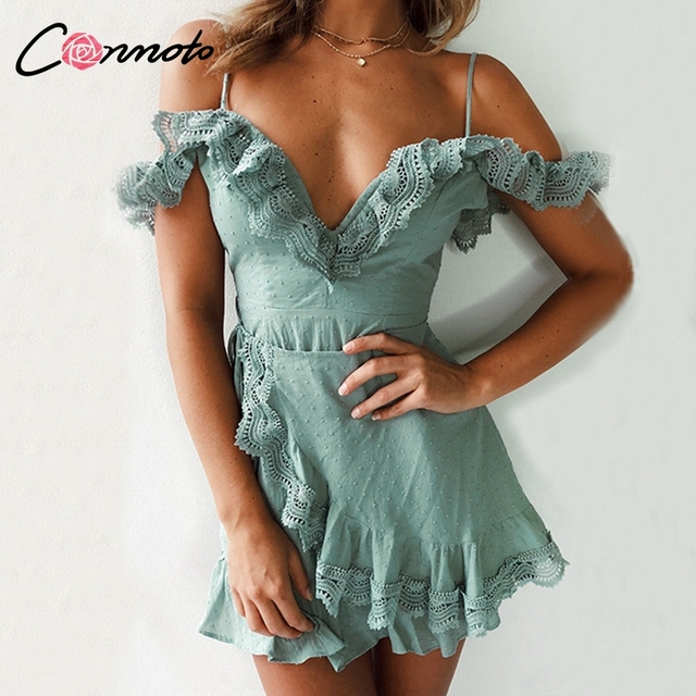 Conmoto 2019 Lace Solid Ruffles Short Women Dress Polka  Dot Party Dress Spaghetti Strap Sexy Beach Summer Dress Vestidos