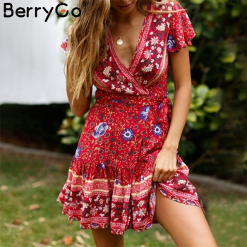 BerryGo Bohemian floral women mini dress V neck wrap sash print ruffle dresses female 2019 Summer elegant holiday beach sundress