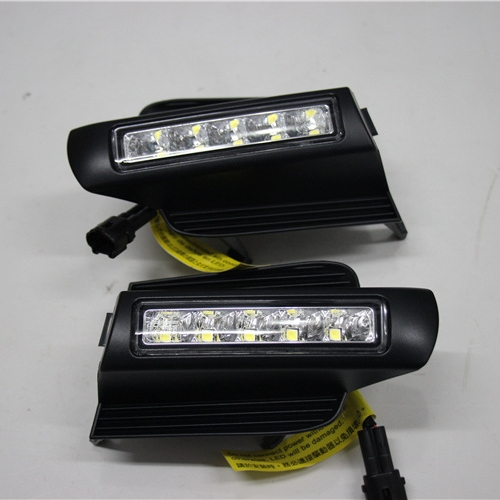 car LED Daytime Running Lights with fog lamp hole for Toyota Prado DRL FJ150 LC150 2003 2004 2005 2006 2007 2008 2009 led car drl daytime running lights with black matt fog lamp hole for 2010 2013 volkswagen vw polo hatchback waterproof style