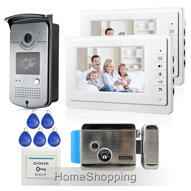 Free Shipping New Apartment 7 Video Door Phone Intercom System + 2 White Monitors + RFID Camera + Electric Door Lock In Stock free shipping brand new home 7 inch video intercom door phone system 2 monitors rfid camera long 250mm strike lock in stock