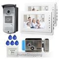"Free Shipping New Apartment 7"" Video Door Phone Intercom System + 2 White Monitors + RFID Camera + Electric Door Lock In Stock"