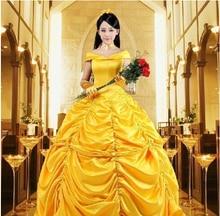Freeshipping New Custom Cartoon Cosplay Fantasia Women Halloween Princess Costume Belle Dress Adult