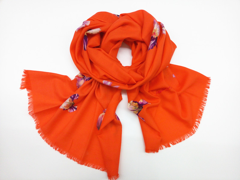 2015 Mew Wool Scarf Fashion Women Long Wool Scarf 2 Colors Orange Rose Red Lily Size:200x100