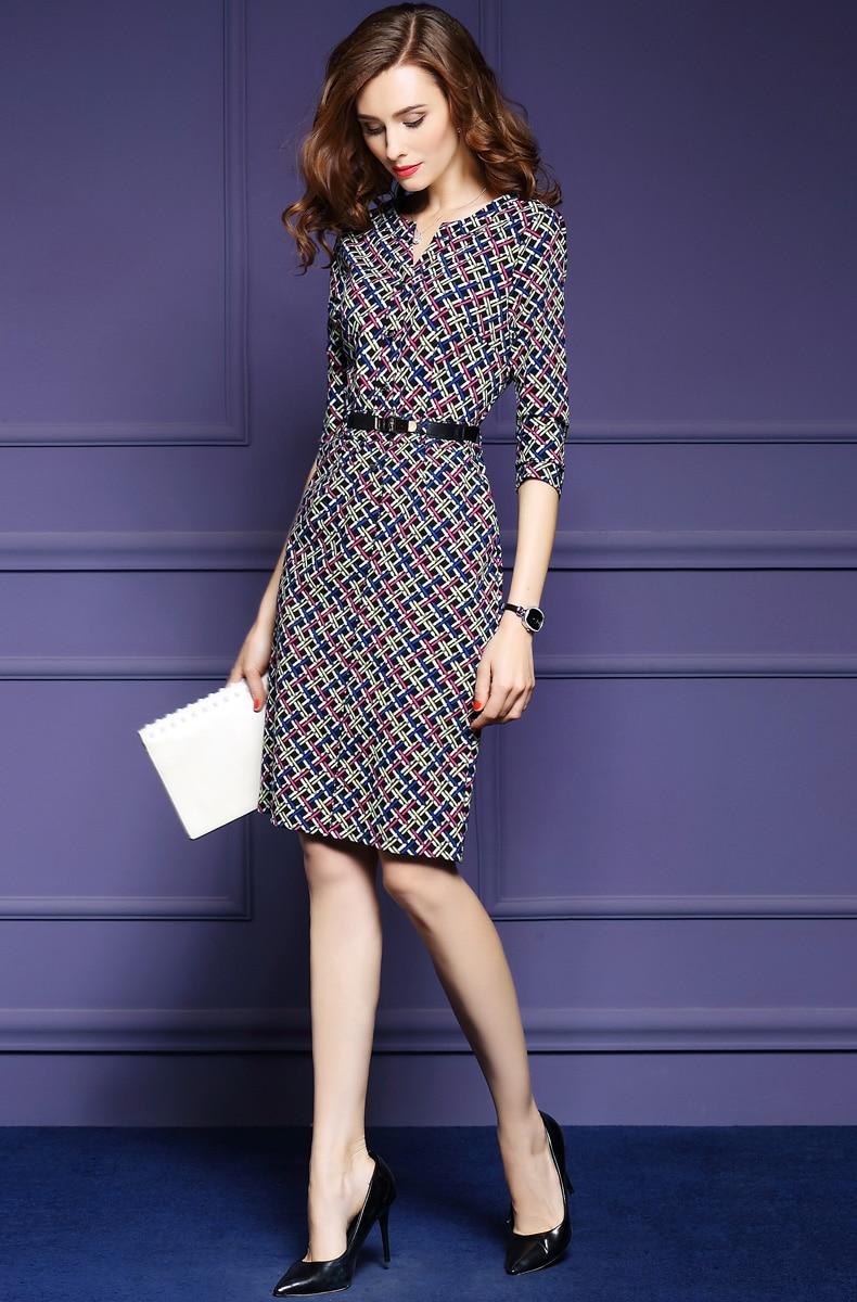 Zmvkgsoa Elegant Autumn Vintage Dress Fall Women Casual Half Sleeve Knee Length Multicolor Plaid A-Line Dress Feminina Y1697 5