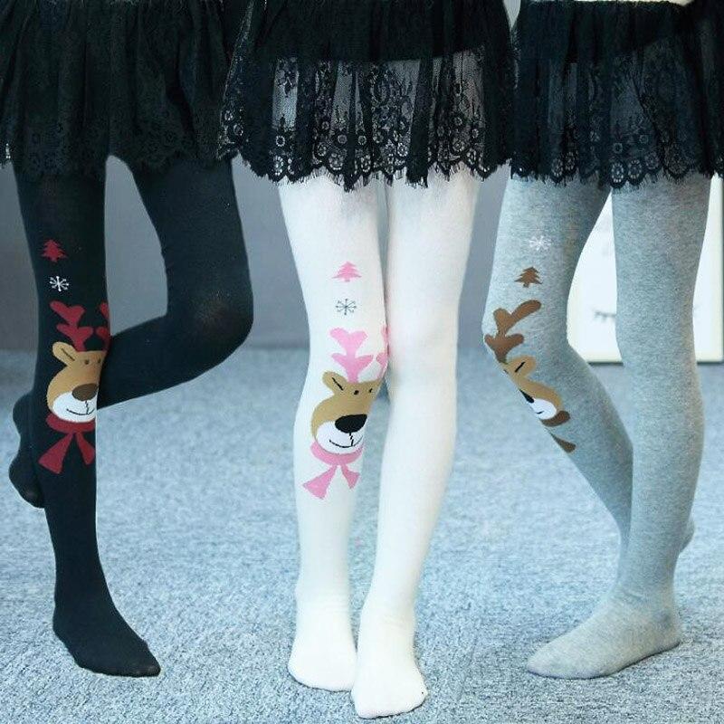 2020 Christmas Clothing Baby Girls Tights Wapiti Cotton Tights Kids Girls Pantyhose Warm Winter Children's Stockings 2-7Y