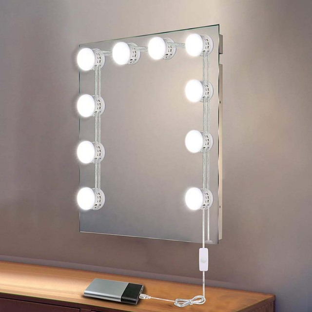 d6d62a699a9 USB Powered Makeup Mirror Vanity LED Light Bulbs Lamp Kit 5 Levels  Brightness Adjustable Lighted Make up Mirrors Cosmetic Tool