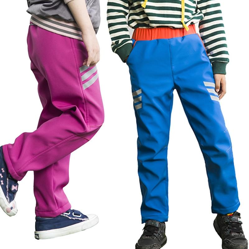 5 15T 2019 New Boys Girls Waterproof Windproof Pants Plus Velvet Thicken Warm Reflective Skiing Pants High Quality