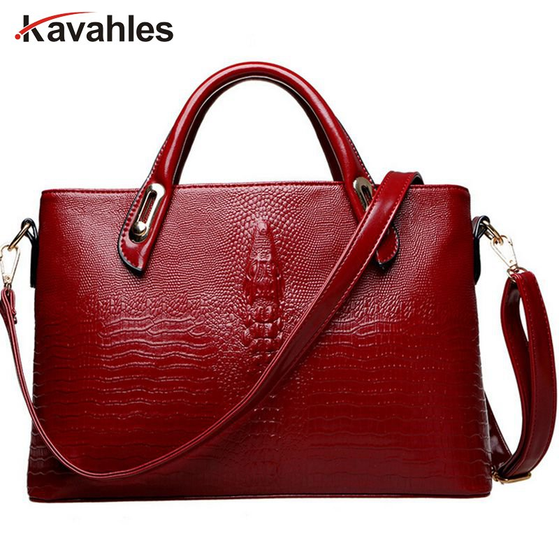 2017 New Crocodile Pattern PU leather women handbags,Vintage Designers Brand Women's shoulder bag  C40-407 new 2016 simple fashion brand designers handbags women composite bag women crocodile pattern totes wallets