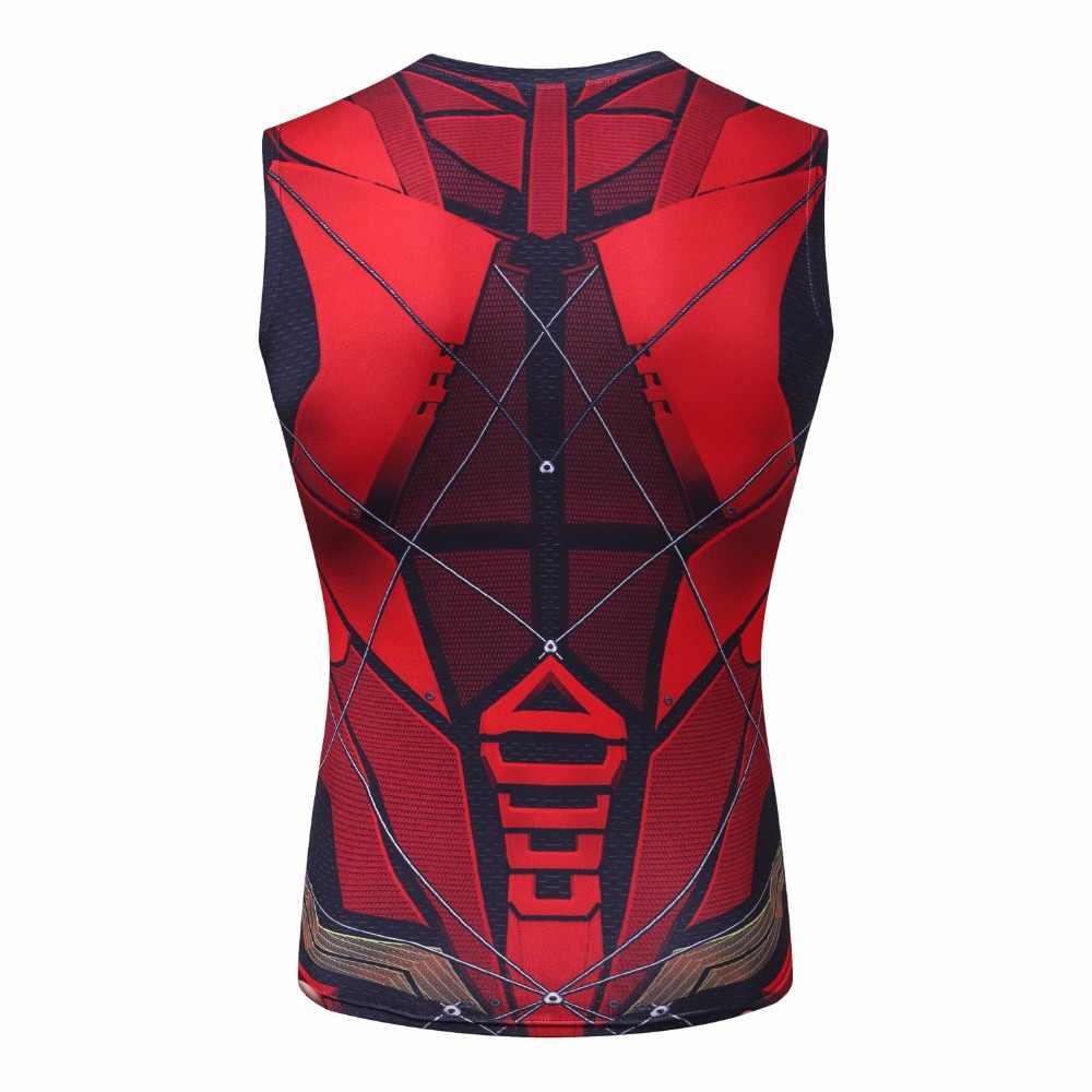 Mới Flash 3D Áo Thun Siêu Nhân Áo Phông Nam Nén Áo Sơ Mi Batman áo không tay Mùa Hè Hiệu TEE Tập Thể Hình