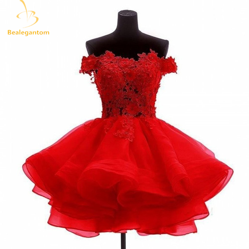 Bealegantom New Mini A-Line Short Homecoming Dresses 2019 With Organza Appliques Prom Party Dresses Graduation Dress QA1110(China)