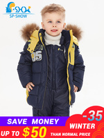 Kids Clothes Boys Winter Luxury Brand 1 5 Age Children Jackets Two Piece Set Warm Fur Down fur Outerwear+Trousers Ski Suit 0149