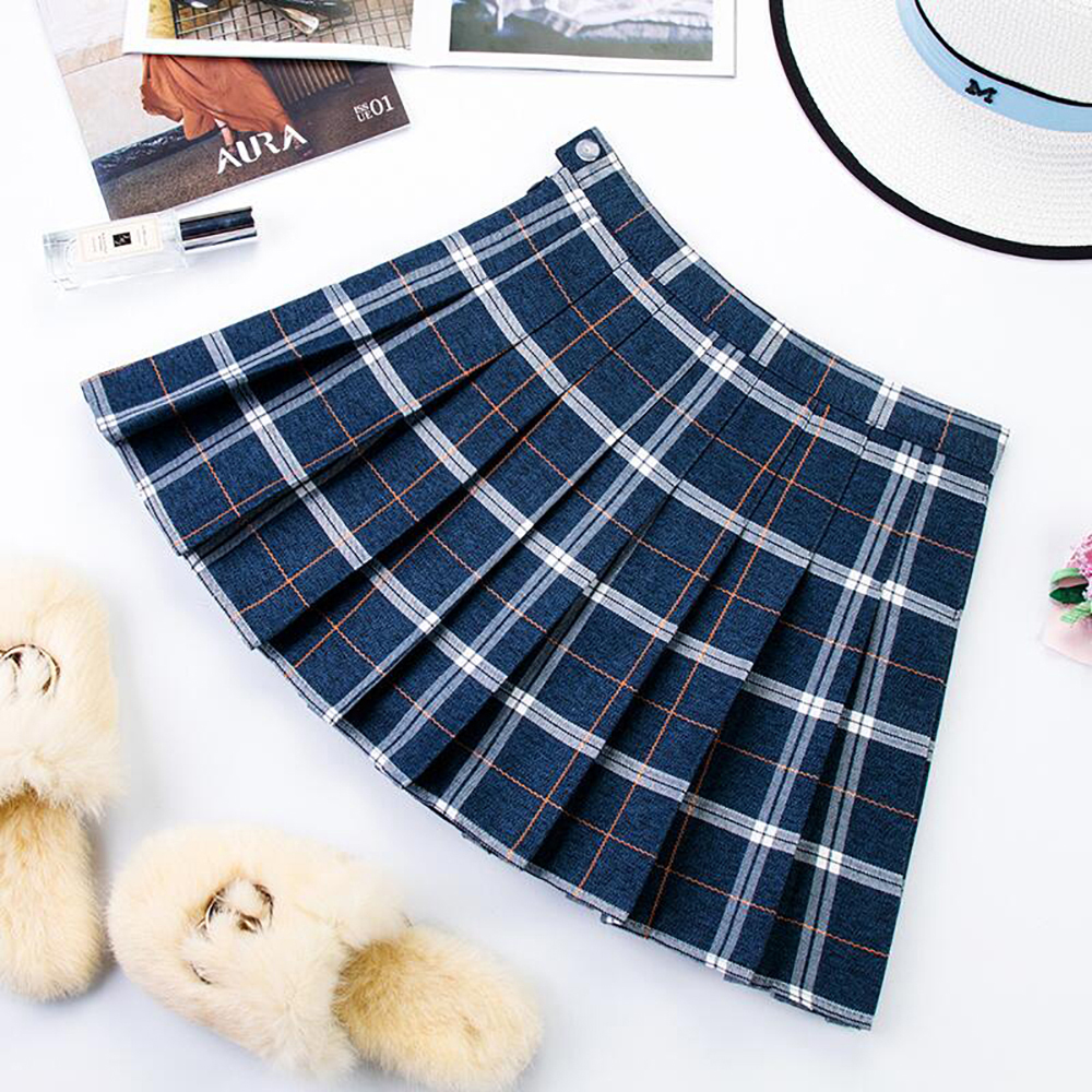 Plus Size Harajuku Short Skirt New Korean Plaid Skirt Women Zipper High Waist School Girl Pleated Plaid Skirt Sexy Mini Skirt 14