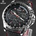 Мужские наручные часы MEGIR  брендовые Роскошные Кварцевые часы с кожаным ремешком  2019