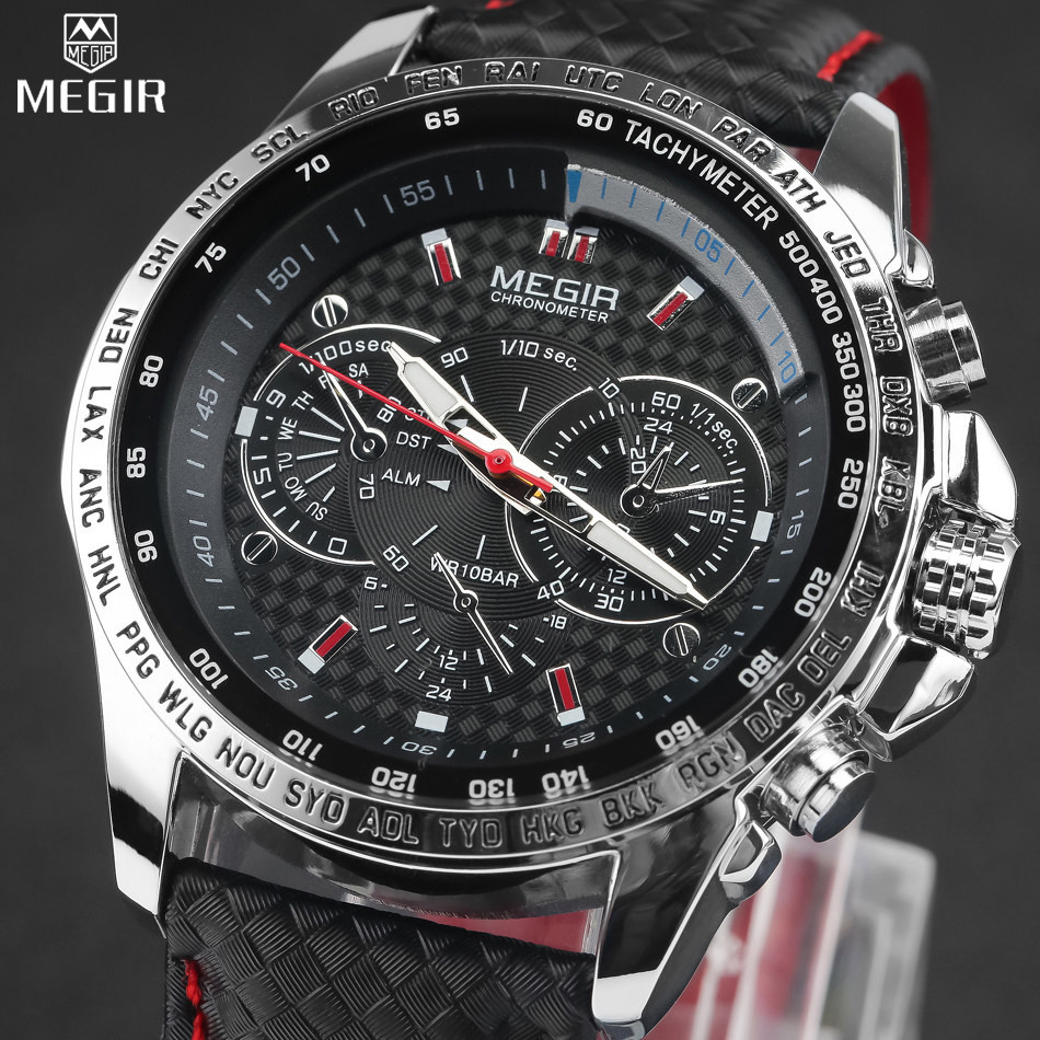MEGIR Hot Famous Brand Men Watches Top Brand Luxury Business Quartz-watch Clock Leather Strap Male Wristwatch reloj hombre 2016 2016 top brand luxury men s watches men wristwatches stainless steel strap business dress watch reloj hombre time clock men