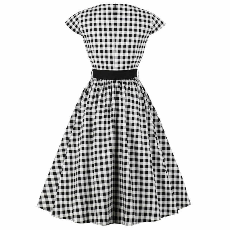 Модное клетчатое женское платье в горошек повседневное вечернее платье винтажное Vestidos Verano 2019 сексуальное летнее пляжное платье Femme Vestido одежда