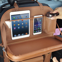 Leather Car Backseat Storage Bag Beverage Cup Holder Foldable Convenient Organizer For Vehicles Universal Car Accessories