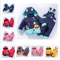 Crianças dos desenhos animados do bebê das meninas dos meninos inverno quente para baixo paletó ajustado casaco + macacão roupa do bebê set crianças jaqueta grossa animal Cavalo