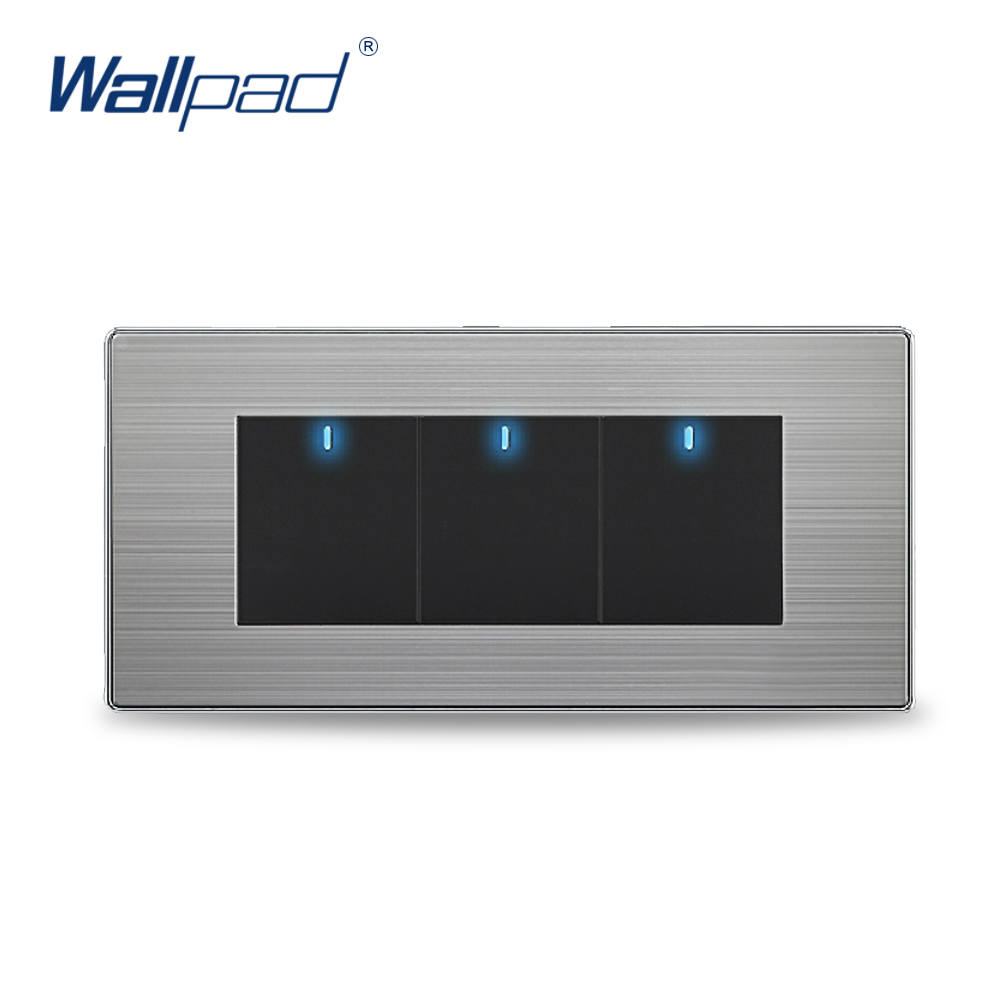 Hot Sale! 3 Gang 2 Way Wall Light Switches Wallpad Push Button light Switch LED Indicator hot sale manufacturer wallpad push button random click 16a led indicator luxury wall light 2 gang 2 way switch