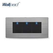 ¡ Venta caliente! 3 Gang Luz de La Pared de 2 Vías Interruptores Wallpad Pulsador Interruptor de la luz LED Indicador