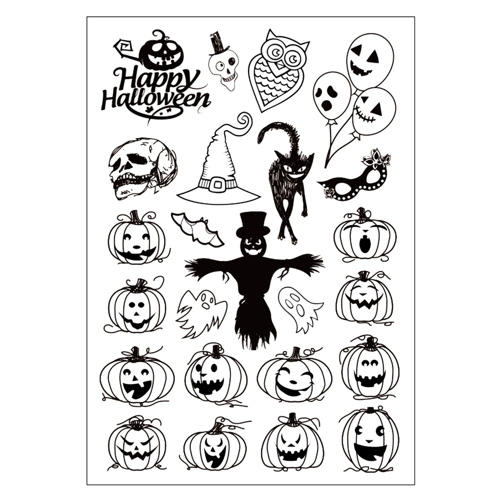 цены на Halloween Subject Pumpkin Lantern Clear Silicone Stamp for DIY Scrapbooking/photo Album Decorative Craft Clear Stamp Chapter в интернет-магазинах