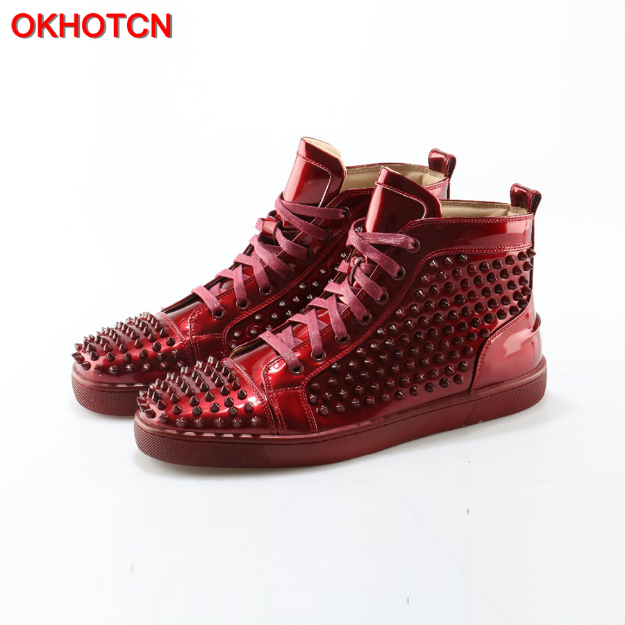 OKHOTCN 2018 New Men Casual Shoes Red Patent Leather Spikes Studded Shoes High end Stars Rivet Loafers Lace Up Zapatos Hombre
