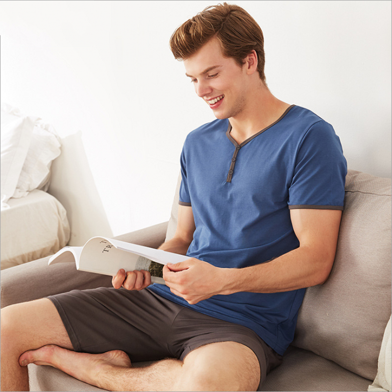 Suit Pajama-Sets Sleepwear Short-Sleeve Half-Pants Male Cotton Men's Summer Casual Brand