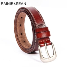 RAINIE SEAN Genuine Leather Belt Women Real Red Brown White Black Pin Buckle Ladies High Quality Waist