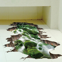 3D stream floor wall sticker removable mural decals vinyl art living room decor high quality on hot selling new fashional design