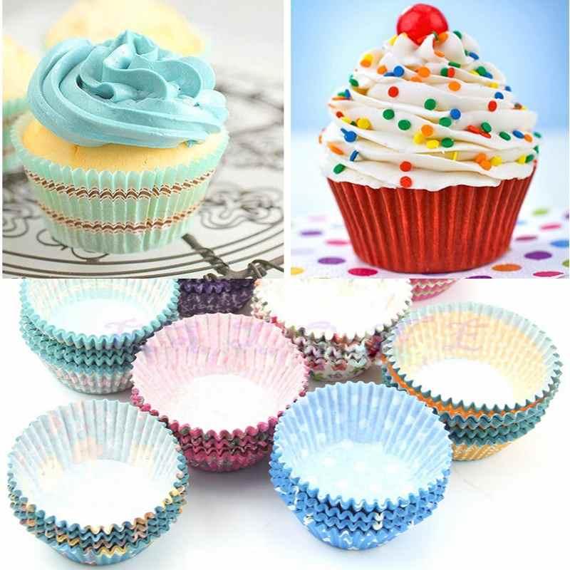 Azul 100 UNIDS Mini Cupcake Liners Papel Torta Redonda Tazas para Hornear Muffin Casos Fiesta en Casa de Boda