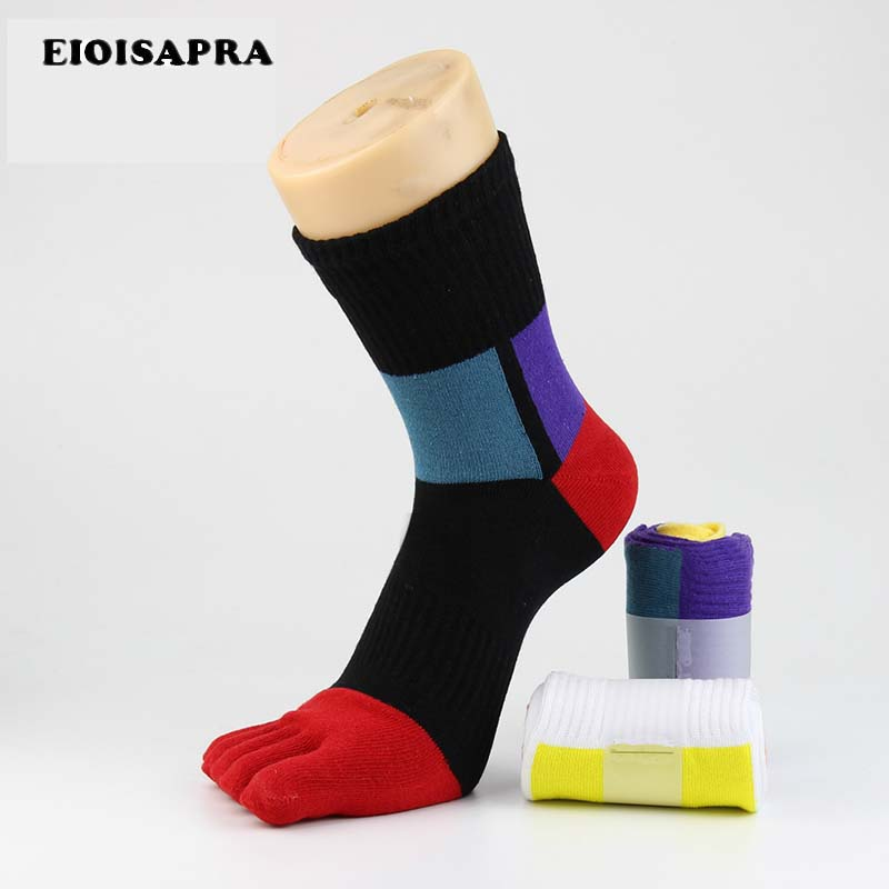 [EIOISAPRA]Fashion Fiber Toe Socks Men Casual Colorful Shining Socks Male Crew Five Finger Absorb Sweat Breathable Socks