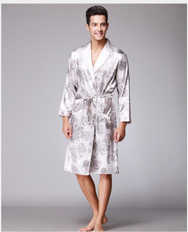 Mens Satin Silk Kimono Wrap Dressing Gown Pajamas Loungewear Bathrobe Plus Size