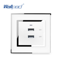 цена на 2 Usb Socket Port Charger 5V 2100mA Wallpad Wall Double USB IOS Android Pad Phone Fast Charging Power Outlet Acrylic Panel