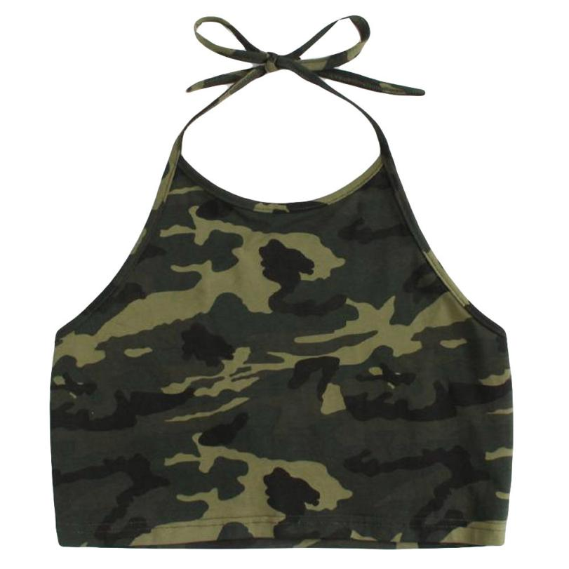 FEITONG Camouflage Printing Summer T-Shirt Women Sleeveless O-Neck Casual Tanks Camisole Tops Beach Party Crop Top Clothes 0120