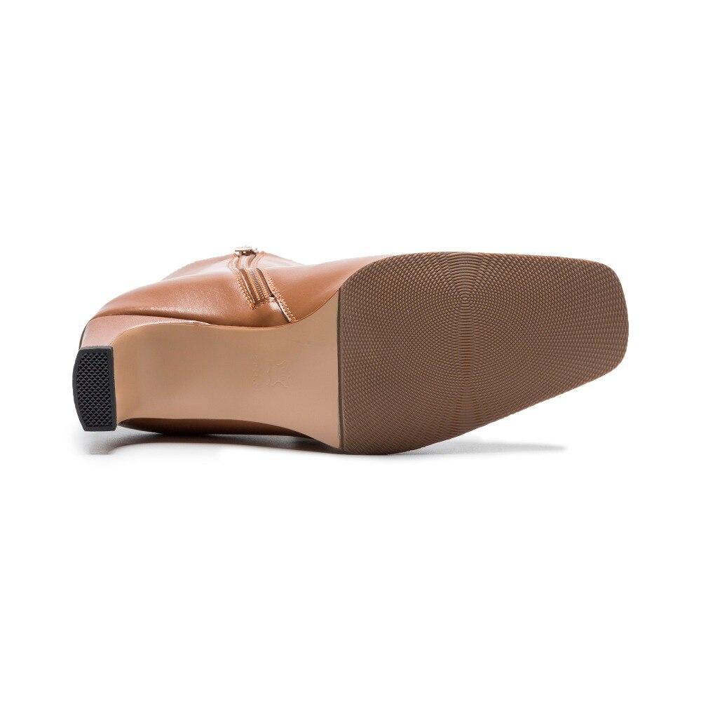 Cuir Hiver Bottes Mode En Automne brown Bout Apricot 2018 black Arden Grand De Chaussures Véritable Carré Taille Talons Furtado Matin Cheville Femmes Chunky k0Ow8XnP