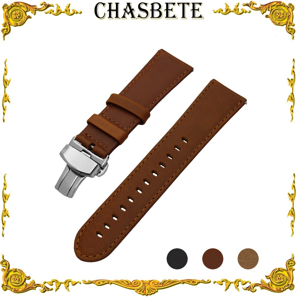 22mm Leather Watch Band for Amazfit Huami Xiaomi Smart Watchband Quick Release Strap Wrist Loop Belt Bracelet Black Brown + Pin