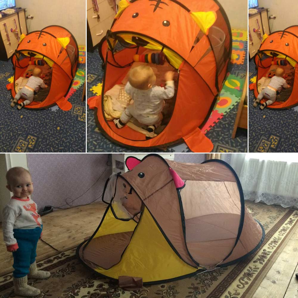 Top SaleChildren's Tent House Ball Pool-Pit-Toys Indoor-Nets Tiger Kids Play Cartoon-Animal Baby
