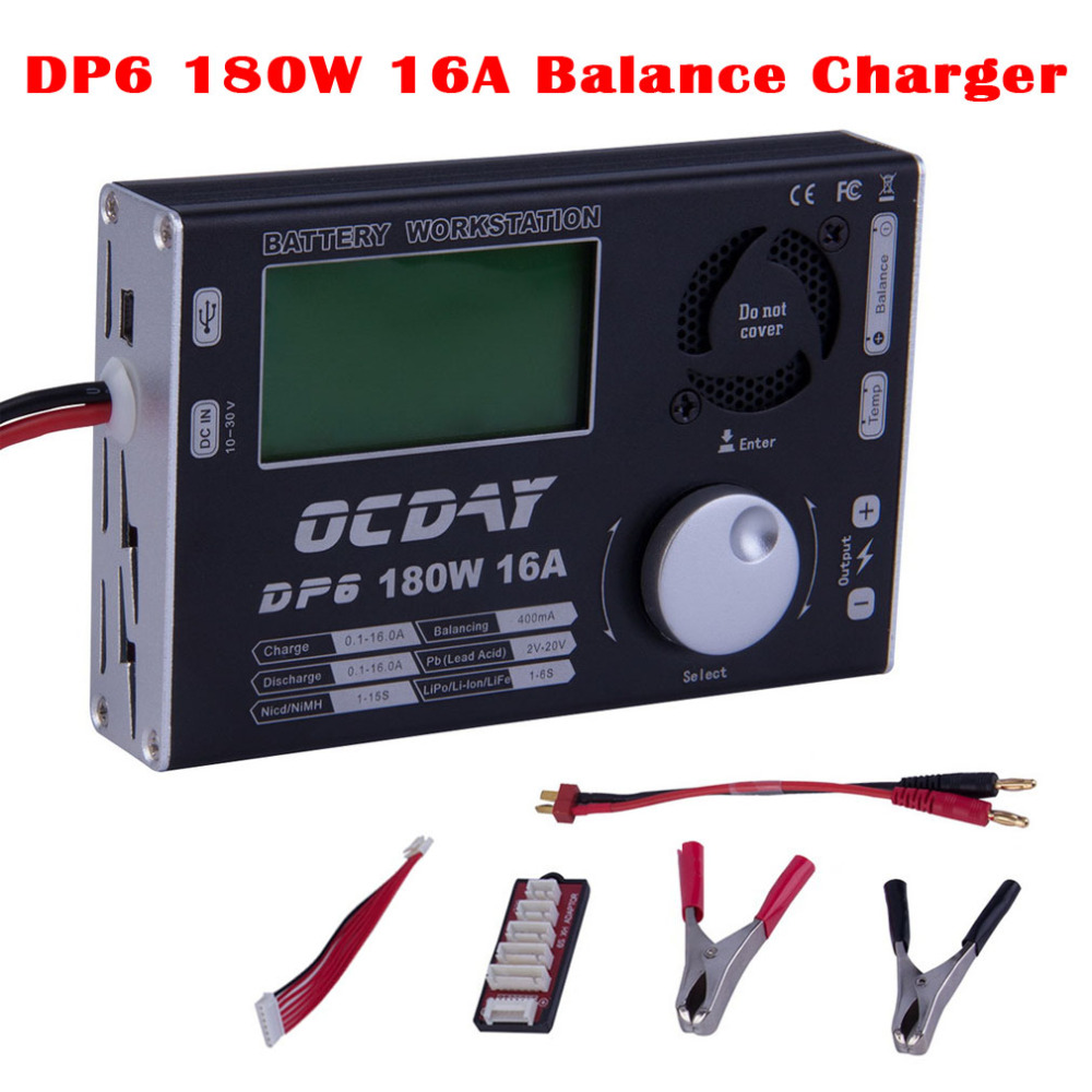 HOT Multi-function DP6 180W 16A 1S 3S 6S Balance Charger for RC Quadcopter Helicopter Car Lipo Battery VS B6 Balance Charger 1s 2s 3s 4s 5s 6s 7s 8s lipo battery balance connector for rc model battery esc