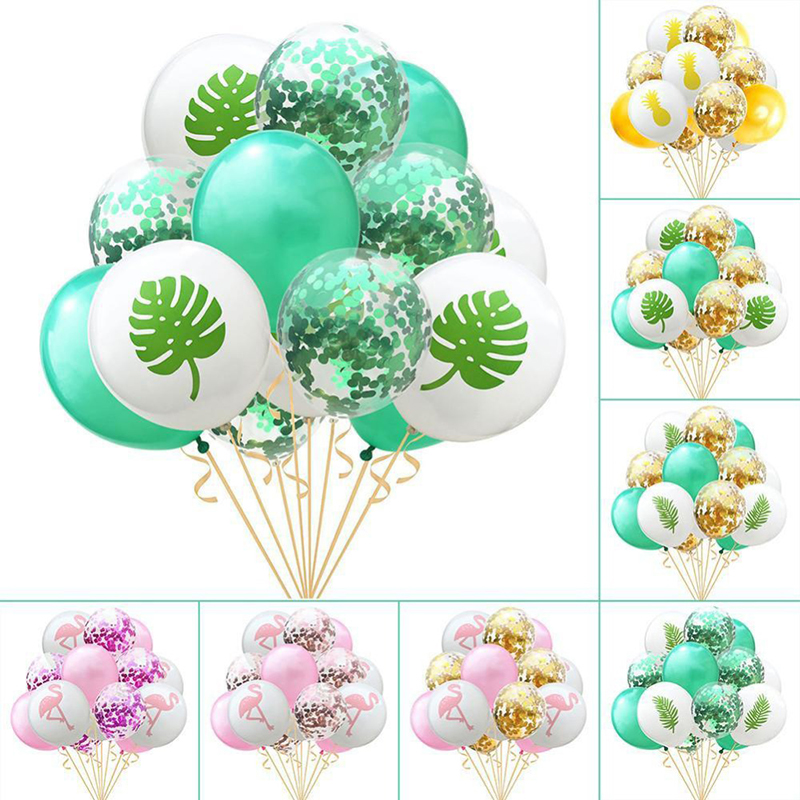 10pcs/Set Lovely Leaf Confetti Latex Balloon Set for Jungle Party Favors Palm Summer Tropical Decor High Quality Supplies