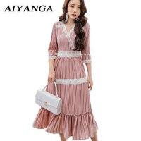 Summer Print Dress Women Sexy Three Quarter Sleeve Bohemian Dresses 2018 Sundress Chiffon Lace Floral High Waist Long Dress