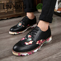 LINKING Fashion Pu Leather Outdoor Brogue Shoes New England Style Autumn Men Flats Shoes Casual Carve Lace Up Office Ankle Boots