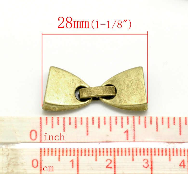 """Collier en alliage de Zinc et de métal embouts de cordon nœud papillon Bronze Antique 28mm (1 1/8 """") x 13mm (4/8""""), 1 ensemble nouveau"""