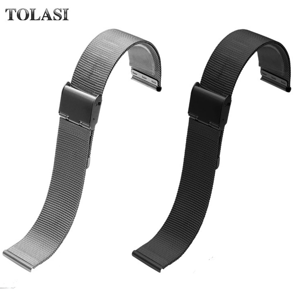 16 18 20 22 mm Silver Black Gold Rose Gold Ultra-thin Mesh Milanese Loop Stainless Steel Bracelet Wrist Watch Band Strap Belt mesh milanese loop watchbands 16mm 18mm 20mm 22mm 24mm silver rose gold black bracelet wrist watch band strap magnetic closure