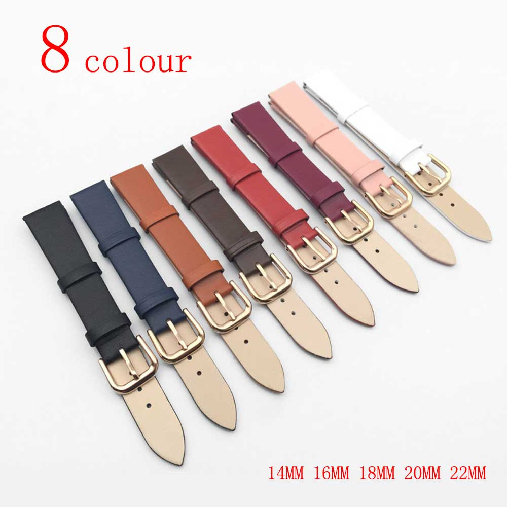 Rose gold button 1PCS 14 16 18 20 22MM smooth grain genuine leather (cow split) watch band watch strap men and women straps