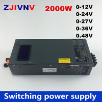New Arrival 2000W switching power supply 0 12V 24V 36V 27V 48V, voltage adjustable for Industrial control DC motor power suply i