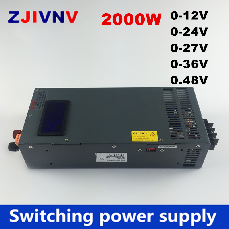 New Arrival 2000W switching power supply 0-12V 24V 36V 27V 48V, voltage adjustable for Industrial control DC motor power suply i image